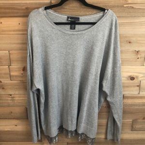 ⭐️ Lane Bryant Grey Sweater with Lace Size 22/24⭐️